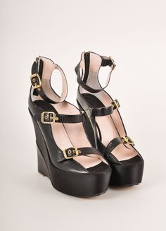 Black and Gold Toned Triple Buckled Strap Leather and Satin Wedges