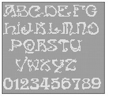 Art Nouveau Alphabet Filet Crochet Cross Stitch by Morlaithiel.  Download for needlepoint too.  Only $2.50.  Love this Etsy shop!