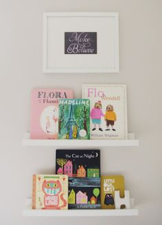 Children's Books Displayed on Ikea Photo Ledges