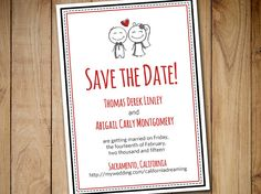 """Printable Save the Date Template - Wedding Announcement """"Sketch Couple"""" Red Black Save the Date Invitation Card - DIY Wedding Template by PaintTheDayDesigns"""