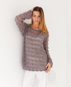 Свободный пуловер, выполненный ажурным узором, схема вязания на сайте Люди Вяжут