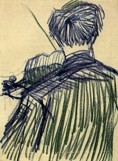 Violinist Seen from the Back by Vincent van Gogh Medium: chalk on paper