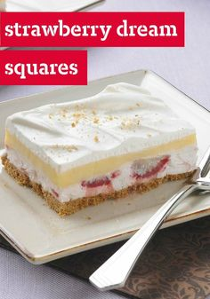 Strawberry Dream Squares – Potluck no-bake squares don't get any sweeter than this: creamy vanilla pudding over a strawberry layer and graham cracker crust!