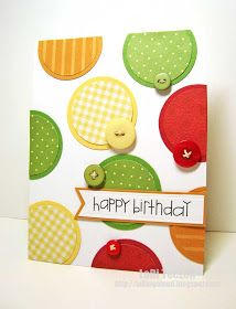 handmade birthday card from Inking Aloud /// Color Throwdown 201 . circle theme with matted printed papers and buttons . fun font for sentiment banner . Handmade Birthday Cards, Happy Birthday Cards, Greeting Cards Handmade, Birthday Greetings, Birthday Wishes, Karten Diy, Button Cards, Bday Cards, Card Making Inspiration