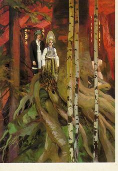 """""""The Mistress of the Copper Mountain"""" - Tales of Pavel Bazhov, illustrated by Vyacheslav Nazaruk   The Mistress of the Copper Mountain(The Malachite Maid) is a legendary creature from Slavic mythology-mountain spirit from the legends of the Ural miners and the Mistress of the Ural Mountains of Russia,depicted as an extremely beautiful green-eyed young woman in a malachite gown or as a lizard with a crown-patroness of miners,protector&owner of hidden underground riches"""