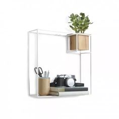 Umbra Cubist Floating Shelf with Built-In Succulent Planter - Modern Wall Décor and Geometric Display Shelf for Books, Candles, Mementos, Photos, Indoor Plants and More! Floating Cube Shelves, Floating Bookshelves, Large Shelves, Display Shelves, Shelving, Cubes, Ideas Habitaciones, Etagere Design, Shelf Board