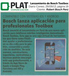 Robert Bosch: Lanzamiento de Bosch Toolbox en el diario Correo de Perú (29/09/13)