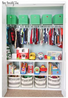 This organized toddler closet features storage for clothing, toys, books, diapers, and other items. Great ideas for organizing for a child's closet. Source by littlezsleep ideas organisation Boys Closet, Closet Bedroom, Bedroom Boys, Boy Bedrooms, Lego Bedroom, Trendy Bedroom, Toddler Closet Organization, Storage Organization, Organizing Ideas