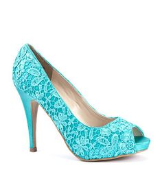 NEEEEED! Lace and turquoise! Two of my fave things together! And the don't look too high which is perfect too. I bet they are expensive though..