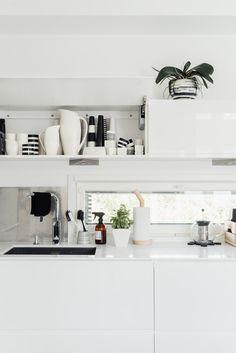 White kitchen - Lisbet e. Floating Shelves, My House, Pergola, Kitchen, Home Decor, Cooking, Decoration Home, Room Decor, Wall Shelves