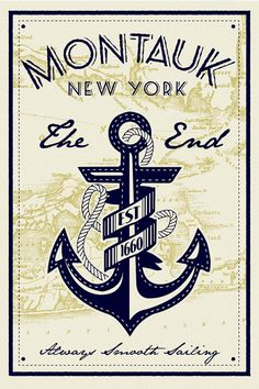 anchor screen print poster montauk new york by RetroScreenprints