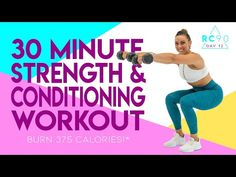 30 Minute Strength and Conditioning Workout! Interval Training Workouts, Fast Workouts, Dumbbell Workout, High Intensity Interval Training, Hiit, Cardio, Morning Workouts, Workout Routines, Strength And Conditioning Workouts