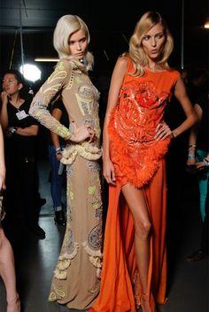 #AbbeyLeeKershaw & #AnjaRubik #backstage @ Matthew Williamson Spring 2012