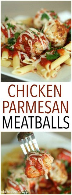Chicken Parmesan Meatballs Recipe from SixSistersStuff.com   Italian chicken meatballs served over pasta and topped with marinara and mozzarella cheese. These are a great twist to the traditional Chicken Parmesan recipe but still tastes amazing!