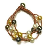 Fine Pearls and Leather Jewelry by Designer Wendy Mignot Haydn Music Four Strand Tahitian Mixed Bracelet
