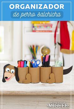 Organizador útil - Educación, Arte y Manualidades niños - Easy Crafts For Kids, Craft Activities For Kids, Creative Crafts, Preschool Crafts, Projects For Kids, Diy For Kids, Fun Crafts, Popsicle Crafts, Toilet Paper Roll Crafts