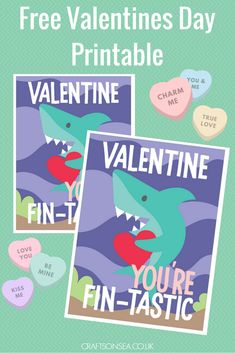 Free Valentines Day Printable for kids shark