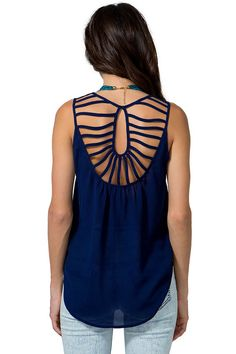 Get back into the swing of things in this sexy chiffon tank! Featuring a sunburst-shaped cutout back with keyhole middle, scoop neck, and sleeveless body. Semi-sheer. Extended hem.