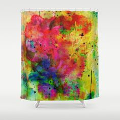 colorful abstract bouquet Shower Curtain by clemm - $68.00