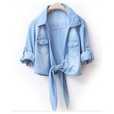 Lapel Long-sleeved Solid Short Denim Shirt ($32) ❤ liked on Polyvore