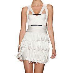 Where can i buy Herve Leger Fringed Halter Bandage Dress Sleeveless Off-white White Bandage Dress, White Dress, Herve Leger Dress, Relaxed Outfit, Weird Fashion, Fringe Dress, Tight Dresses, Strapless Dress, Casual Outfits