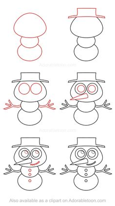 Nothing is gonna melt here, so take your time while learning how to draw a snowman! Op Art Lessons, Drawing Lessons For Kids, Art Drawings For Kids, Cartoon Drawings, Animal Drawings, Art For Kids, Easy Dragon Drawings, Cute Easy Drawings, Draw Tutorial