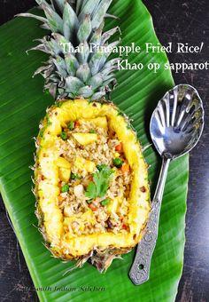 Thai Pineapple Fried Rice/Khao op sapparot: Made with Fresh pineapple and homemade stirfry sauce.