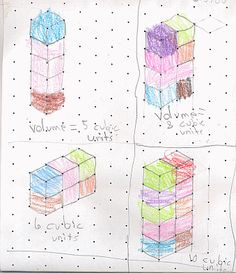 Teaching volume with snap cubes. Like the paper used to draw 3-d
