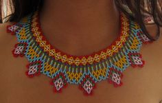 "Collar ""Chiva"" Native American Beading, Native American Jewelry, Beaded Collar, Collar Necklace, Bling Bling, Beaded Earrings, Beaded Jewelry, Seed Bead Projects, Mexican Jewelry"