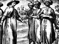 Etching showing a priest negotiating the release of slaves