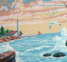 Lighthouse Seaside Paint By Number (detail) by SurrendrDorothy, via Flickr
