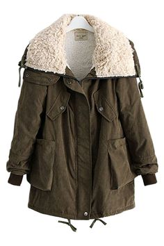 Parka Coat With Big Shearling Collar OASAP.com