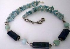 Amazonite Chips Necklace | Bright Beaded Necklace - Lapis Lazuli & Amazonite Stone - Adjustable ...