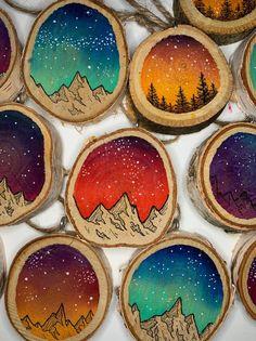 Galaxy Ornament, Wood Slice Ornament, Wooden Ornament, Hand Painted Ornament, Christmas Ornament, Sp