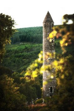 Monastery tower in Glendalough, County Wicklow, Ireland.