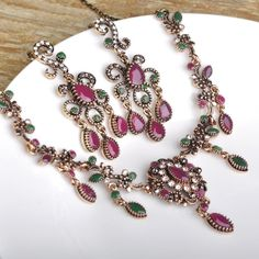 Turkish Flower Necklace Earring Sets Ruby Pendants Chains Acrylic Stones Choker Vintage Women Wedding African Beads Jewelry Set Like and Share if you agree!Visit our store ---> www.jewelryabo.co... #shop #beauty #Woman's fashion #Products #homemade