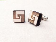 Geometric Wood Cufflinks - Wedding Accessories - Woodland Cufflinks - Mens Cufflinks - Laminate Cuff links - gift for Men father