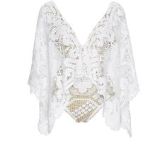 Agua de Coco Ceara Crochet Batwing Maillot (5.085 BRL) ❤ liked on Polyvore featuring tops, low v neck tops, batwing top, white batwing top, crochet top and white drape top