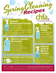 Spring Cleaning Recipes... natural alternatives to the chemical-laden cleaning products that are readily available.