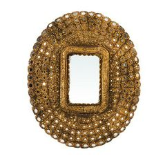 Intricate carved wood detail with inlay small round mirrors. Larger rectangular mirror in the middle. Each piece hand made and unique! Small Round Mirrors, Unique Mirrors, Oval Mirror, Oval Frame, Peacock Mirror, Dovetail Furniture, Baroque Mirror, Gold Mirrors, Shabby Chic Mirror