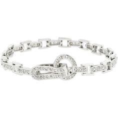 Kate Bissett Silvertone Cubic Zirconia Bracelet, Women's, Size: 7.25 Inch, White