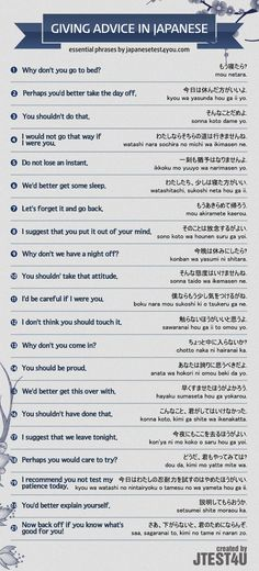 Infographic: how to give advice or make suggestions in Japanese. http://japanesetest4you.com/infographic-give-advice-japanese/