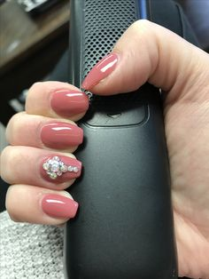 Dnd 490 Redwood City Color Nails Gel Manicure And Rhinestones