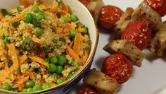 Spiced Pork Kebabs with Pea & Herb Couscous recipe - Operation Transformation Protein Rich Diet, Couscous Recipes, Main Meals, Cherry Tomatoes, Tray Bakes, Fried Rice, Kebabs, Spicy, Tasty