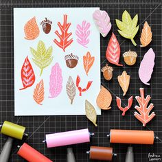 Andrea Lauren: Fall Leaves handcarved stamps by Andrea Lauren