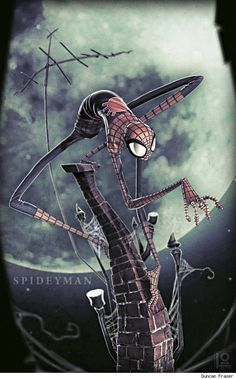 Very Creepy SpideyMan by Duncan Fraser. I could see a Tim Burton animated flick based on this illustration.