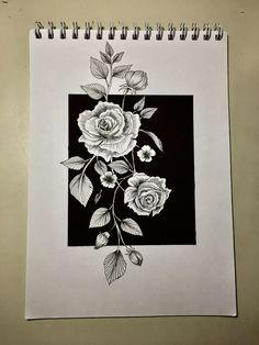 #flower#drawing#draw#rose#tattoo#black#white#minimal