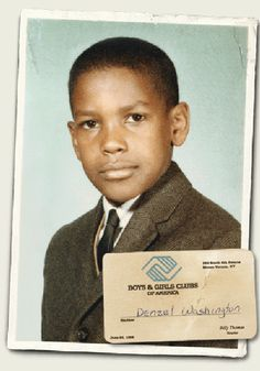 a young Denzel Washington and his Boys & Girls Club membership card