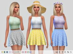 TS4 Daisy Dress Sleeveless | mini length | thin belt | features flower pattern | back zipper | flare style New item | 12 variations Mesh with permission by Sims2fanbg I hope you like it! :) Download