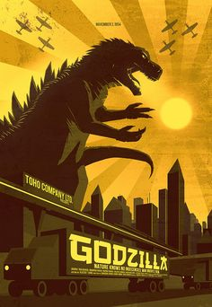 I'm going to try and make a quilt for Helena out of her old baby clothes, based off of this print, using green clothes for Godzilla and so forth.